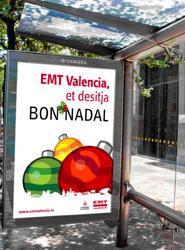 La EMT de Valencia felicita las fiestas navideñas a sus usuarios a través de autobuses y marquesinas
