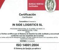 In Side Logistics obtiene el certificado 14001:2004 que se basa en la implantación de un Sistema de Gestión Ambiental