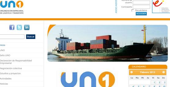 Página 'web' de UNO, Organización Empresarial de Logística y Transporte.