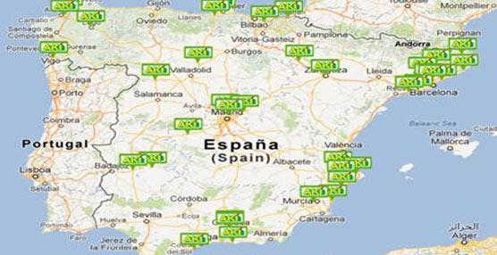 Mapa de tiendas de la cadena de establecimientos de bricolaje AKI repartidas por España.