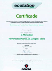 Certificado de Scania al grupo Sesé.
