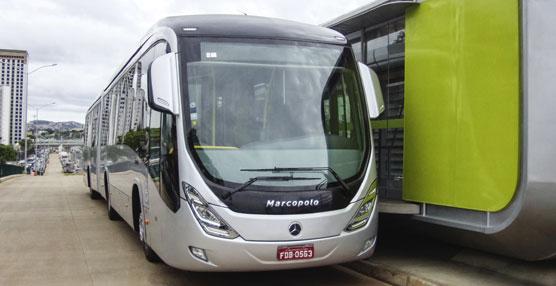 Uno de los 500 autobuses Mercedes-Benz para el sistema de transporte rápido de Belo Horizonte.