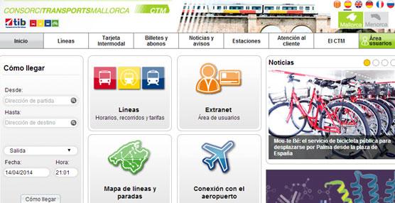 El Consorcio de Transportes de Mallorca mejora su web con nuevas funcionalidades y más información