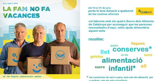 Los trabajadores de Correos en Cataluña recogerán alimentos para la campaña 'El hambre no hace vacaciones'