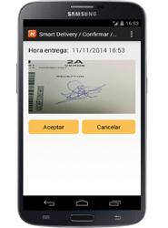 La aplicación habilita la cámara del smartphone del mensajero para captar el código de barras de la expedición.