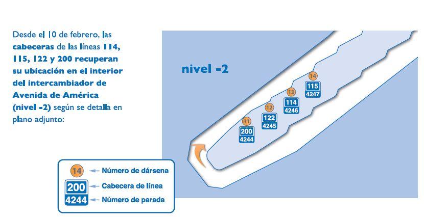 Las líneas 200, 122, 114 y 115 de EMT Madrid recuperan cabecera en el intercambiador de Avenida de América