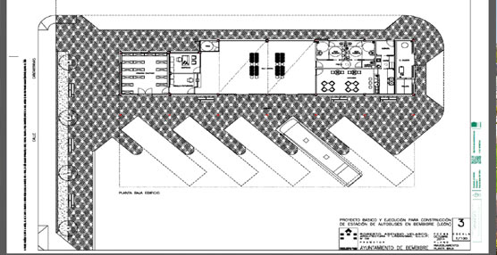 Plano de la estación de autobuses de Bembibre.
