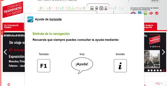 Modo accesible de la web del CRTM www.crtm.es