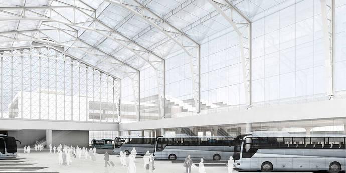Proyecto de la nueva estación intermodal de Santiago de Compostela.