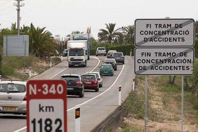 Desvío de camiones de la N-340 a la AP-7 en Tarragona, en enero de 2018