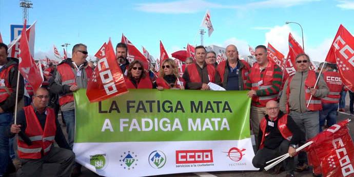 Comisiones Obreras protesta contra los males que afectan al Transporte por carretera