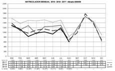 Evolución de matriculaciones de remolques y semirremolques durante 2017, 2018 y 2019.