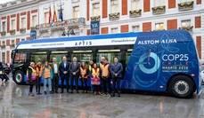 Alsa trasladó a los voluntarios durante la COP25 en un bus eléctrico