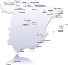 Mapa de lugares donde Alsa presta servicios urbanos.