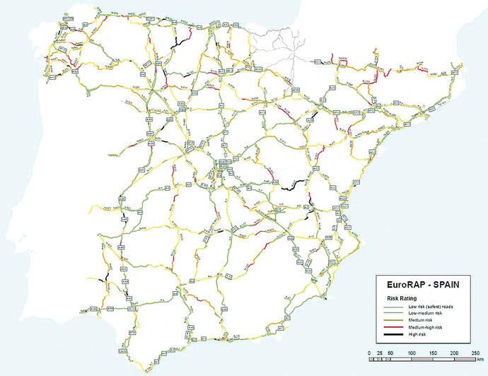 Más de 2.100 km de carreteras con elevado riesgo de accidente