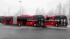 Autobús articulado en Oslo (Noruega).
