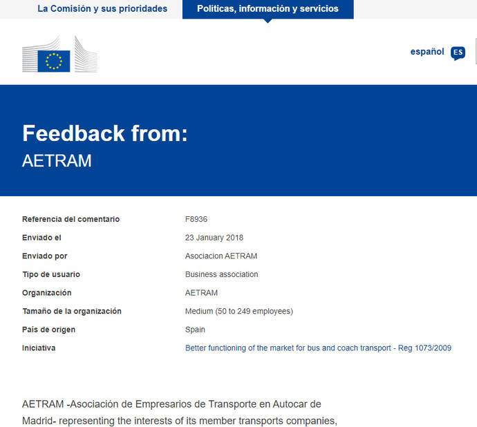 Aetram se posiciona a favor de modificar el 1073/2009