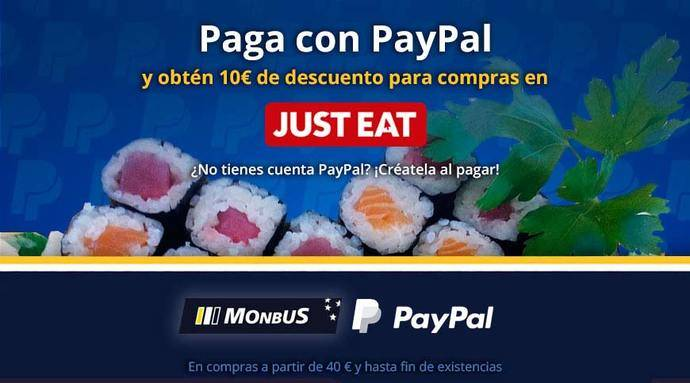 Monbus y PayPal regalan 10 euros en Just Eat