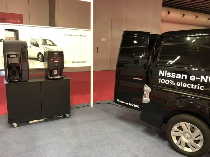 Nissan e-NV200 sirve 300 cafés en Alimentaria