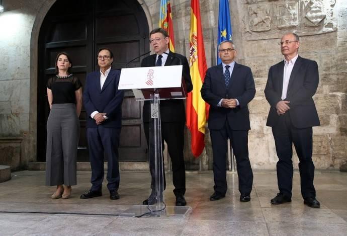 Ximo Puig, presidente de la Comunidad Valenciana, durante su rueda de prensa sobre la movilidad.