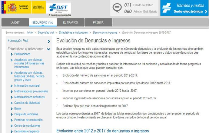 La DGT incorpora en su web datos sobre sanciones