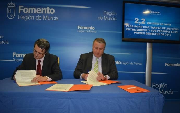 2,2 millones de euros para servicio de autobús que une Murcia y pedanías
