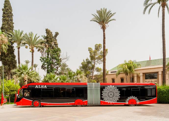 Autobús de Alsa en la Cumbre del Clima COP22 en Marrakech.