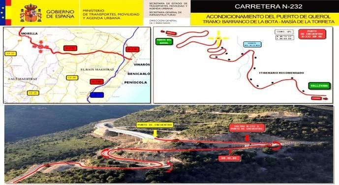 Ábalos supervisa el acondicionamiento de la N-232 en Morella