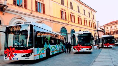 Autobuses eléctricos BYD en las calles de Turín y Novara