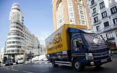 El nuevo camión de Dachser ya realiza una ruta por el centro de Madrid.