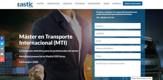 Astic lanza la 2ª edición del Máster en Transporte Internacional
