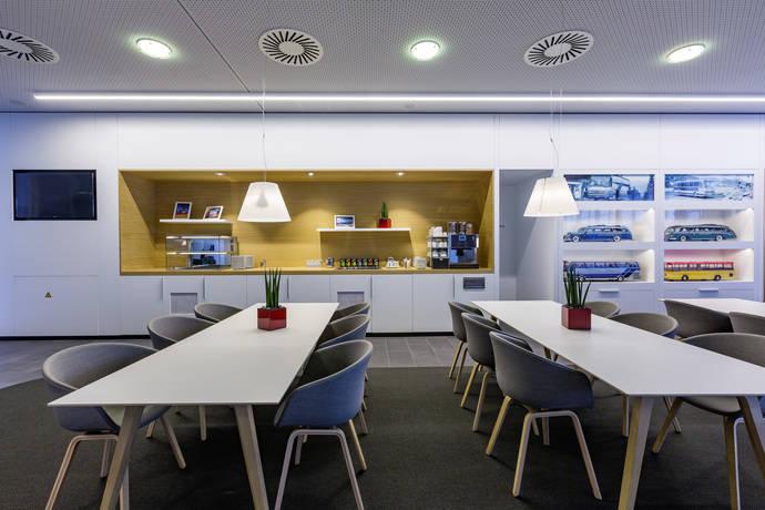 El Setra Lounge en el centro de atención al cliente en Neu-Ulm.