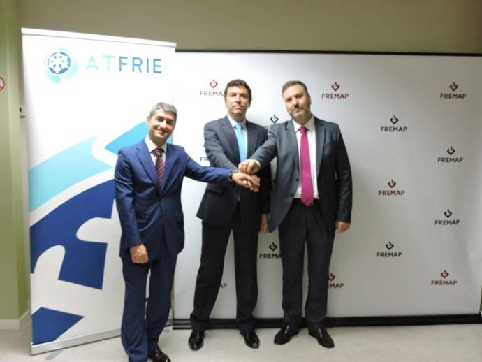 De izq a dcha, Pedro Rodriguez (subdirector regional Fremap Madrid), Juan Manuel Sierra (secretario general Atfrie), Antonio Cirujano (director de prevención Fremap).