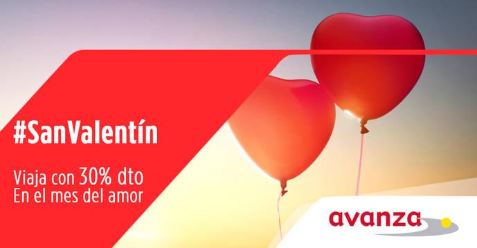 Avanza celebra San valentín con un 30% de descuento para viajar