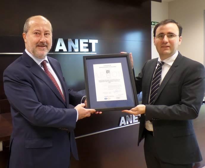 ANET recibe de AENOR la certificación de Calidad ISO 9001