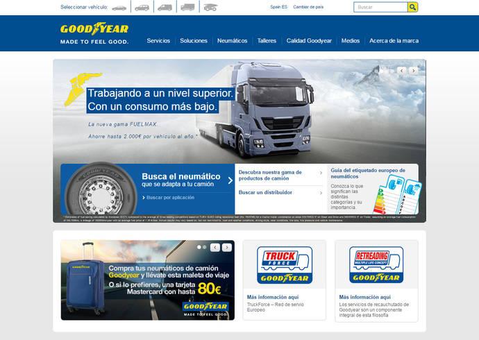 Nueva web de neumáticos para camión de Goodyear para región EMEA