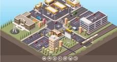 Mapa interactivo de un Sistema de Transporte Inteligente (ITS) completo.