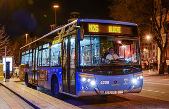 Un autobús nocturno de la ciudad de Madrid.