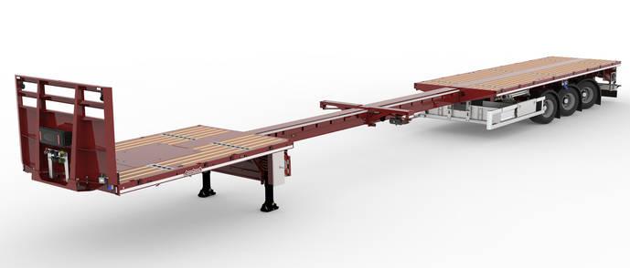 Nooteboom muestra nuevo vehículo de plataforma plana, extensible y ligero