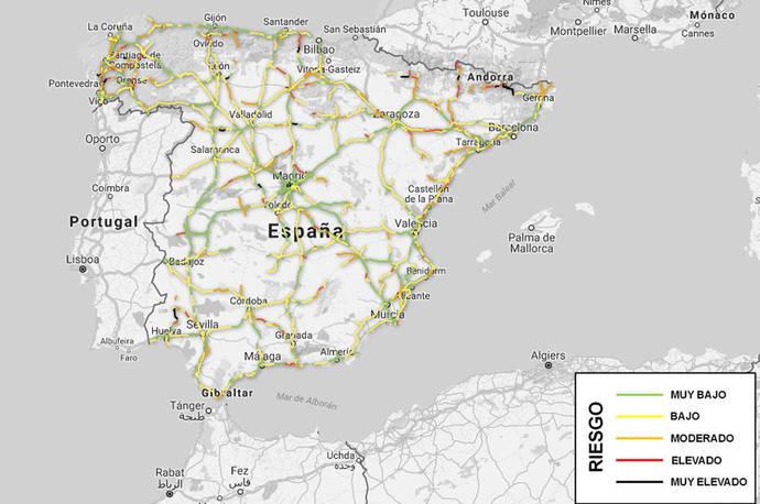 Mapa que muestra el nivel de riesgo en nuestras carreteras.