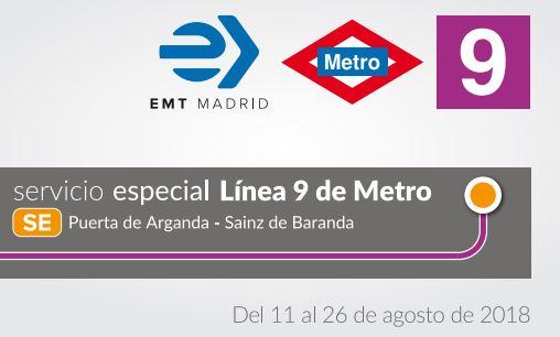 331.646 viajeros usaron Servicio Especial sustitutorio de línea 9 de Metro