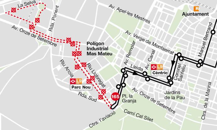 La línea 165 de TMB se adapta en el Prat de Llobregat