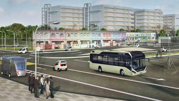 Autobuses eléctricos autónomos de Volvo recorren las calles de Singapur