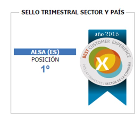 ALSA recibe el sello BCX como mejor empresa de transporte