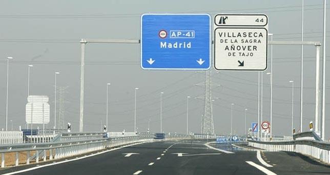 Fomento aplica la rebaja de tarifas en la autopista Madrid-Toledo (AP-41)
