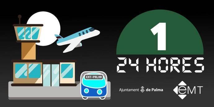 EMT Palma dará servicio 24 horas a la línea que une puerto y aeropuerto