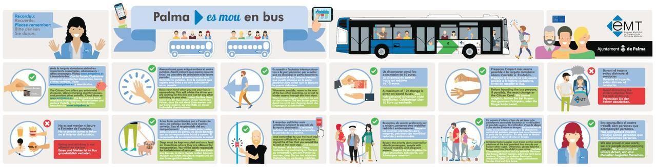 EMT Palma realiza campaña informativa para promover buen uso del transporte