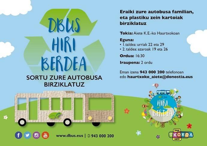 Abierta la inscripción para el taller infantil Autobus Berdea de Dbus