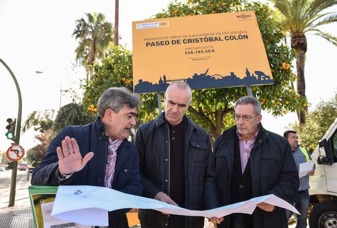 Sevilla inicia obras de construcción del nuevo carril bici del Paseo Colón