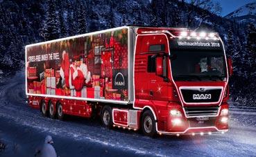 MAN iluminó la Navidad con su modelo TGX con 240 metros de leds